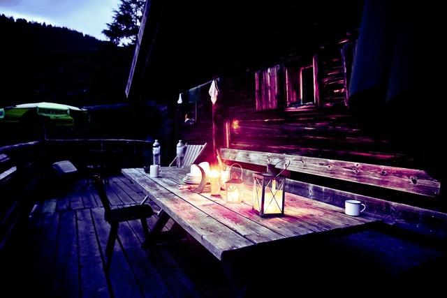 Mountain hut hut evening alpine hut, nature landscapes.