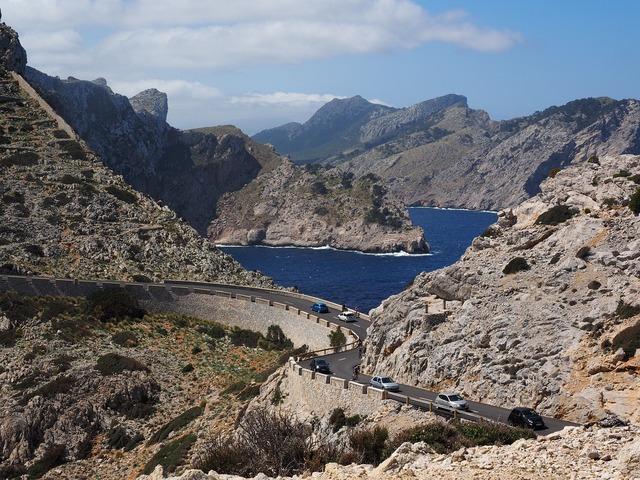 Mountain landscape mallorca sea, transportation traffic.