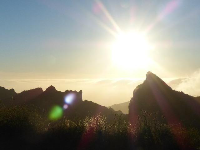 Mountain mountain peak back light, nature landscapes.