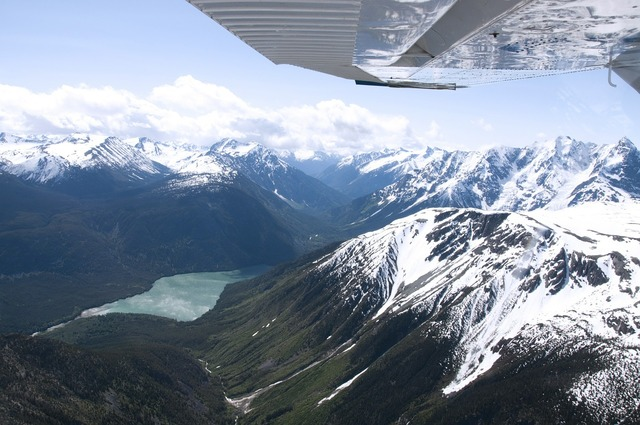 Mountain range british columbia aerial.