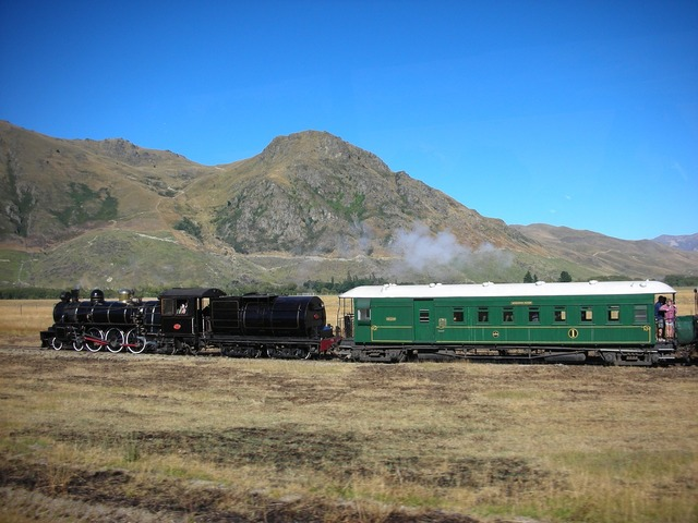 Mountain train steam, nature landscapes.
