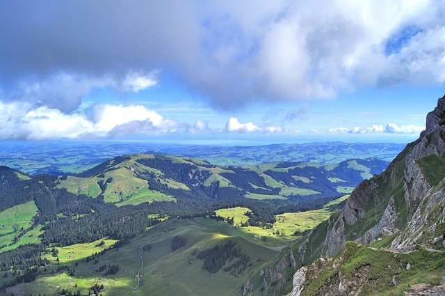 Mountain view lake constance, nature landscapes.