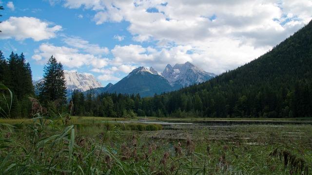 Mountains alpine lake.