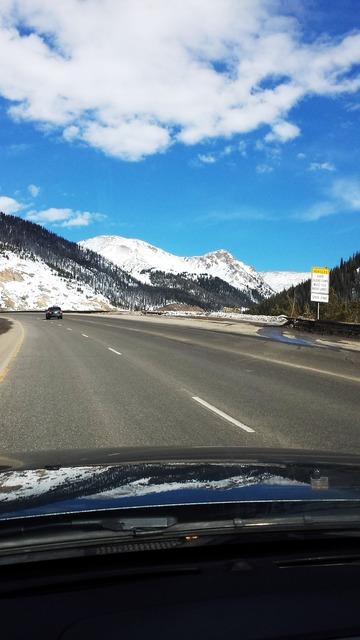 Mountains colorado nieve, transportation traffic.