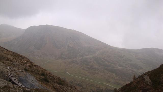 Mountains fog trail.