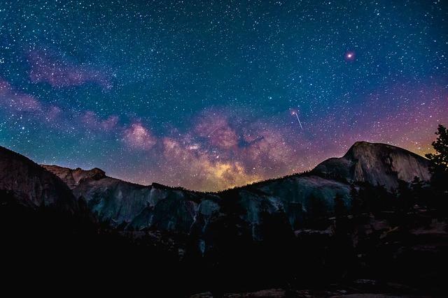 Mountains universe night sky.