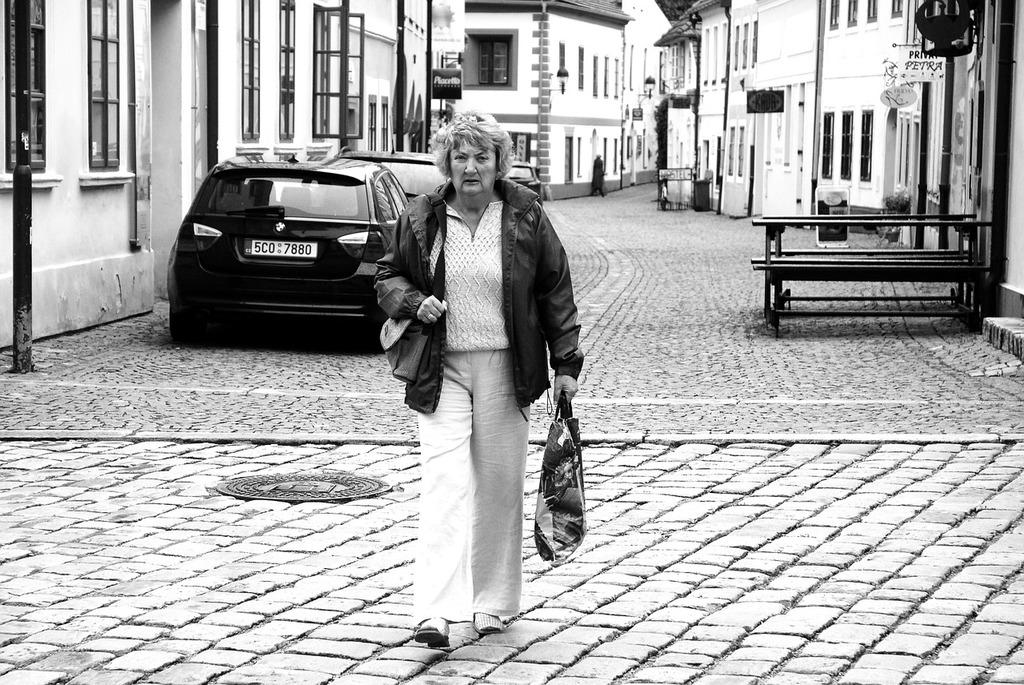 Mrs lady street, transportation traffic.