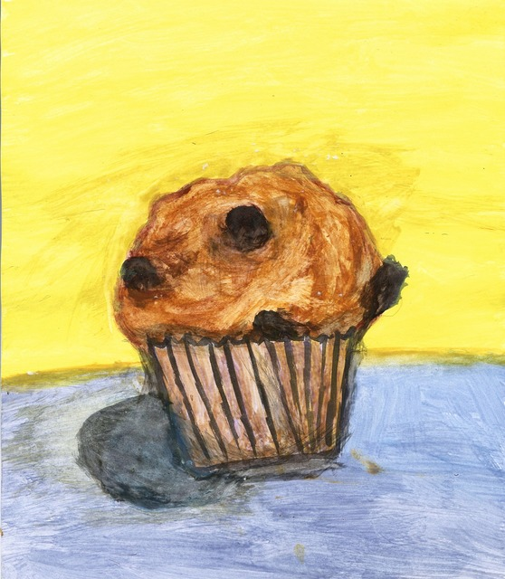Muffin chocolate painting, food drink.