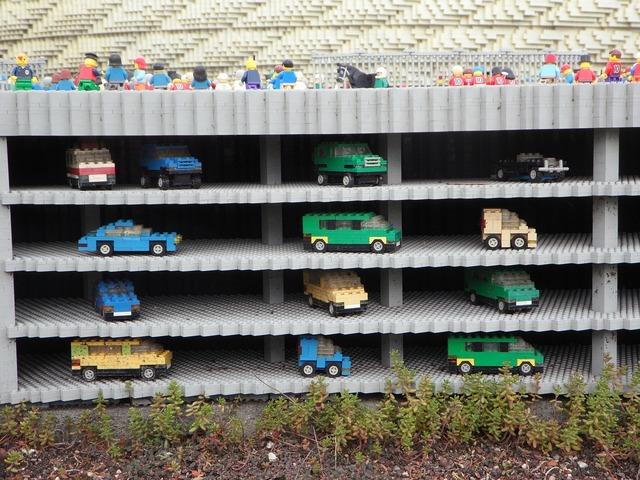 Multi storey car park legoland lego blocks.
