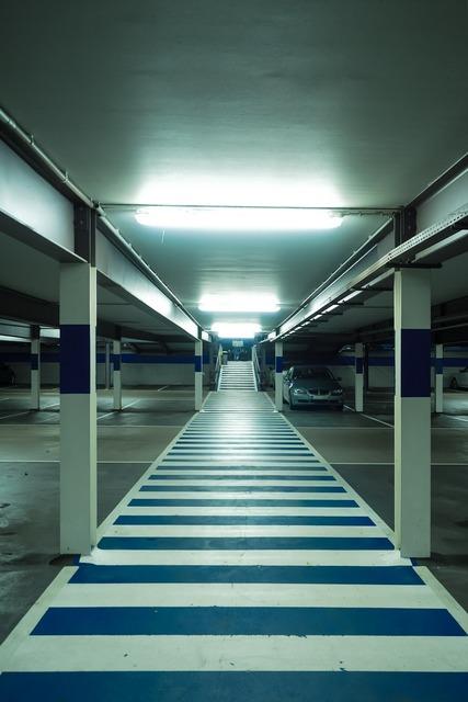 Multi storey car park zebra crossing park.