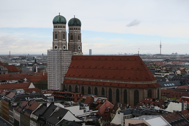 Munich church towers, religion.