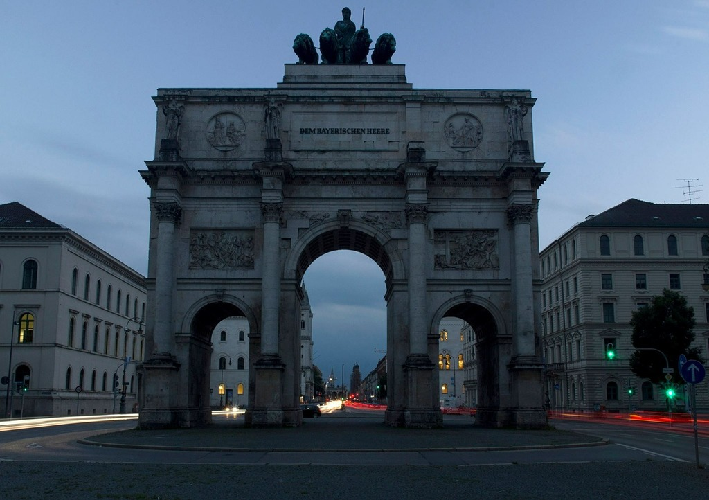 Munich siegestor sunset, travel vacation.