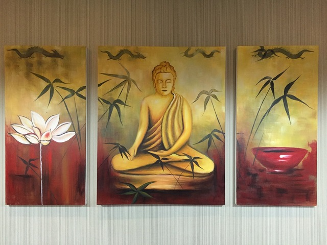 Mural buddha statues lotus, nature landscapes.