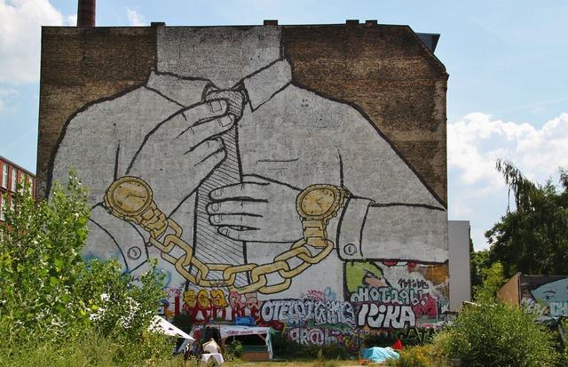 Mural graffiti street art, architecture buildings.