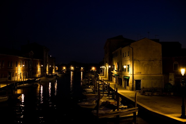 Murano light night, architecture buildings.
