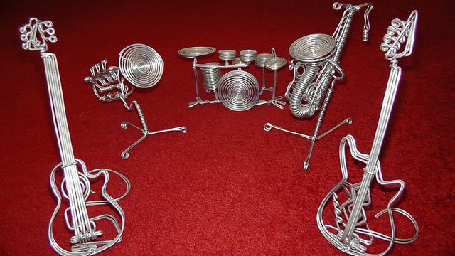 Music band instruments, music.