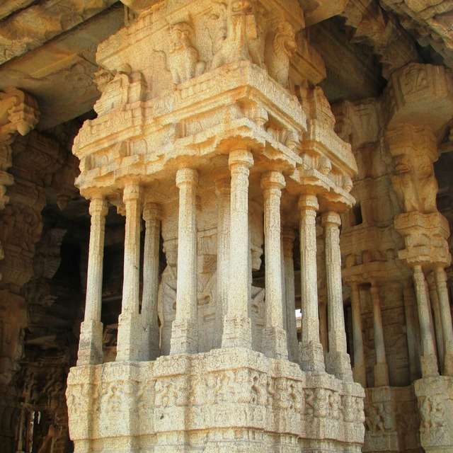 Musical rock pillars hampi india, places monuments.