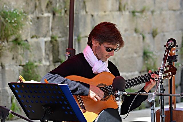 Musician guitar street musicians, people.