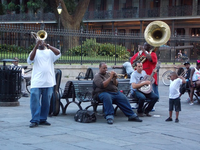 Musicians street performers african american.