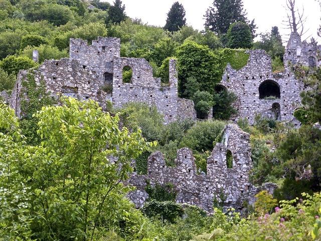 Mystras ruins stone, nature landscapes.