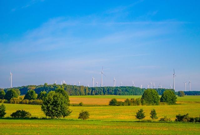 Ne summer wind turbines, nature landscapes.