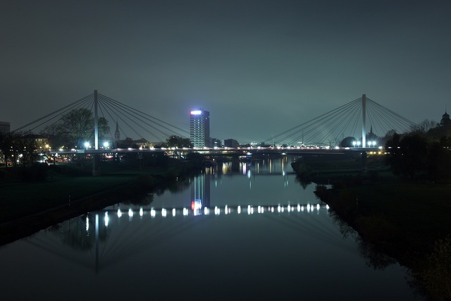 Neckar mannheim bridge, architecture buildings.