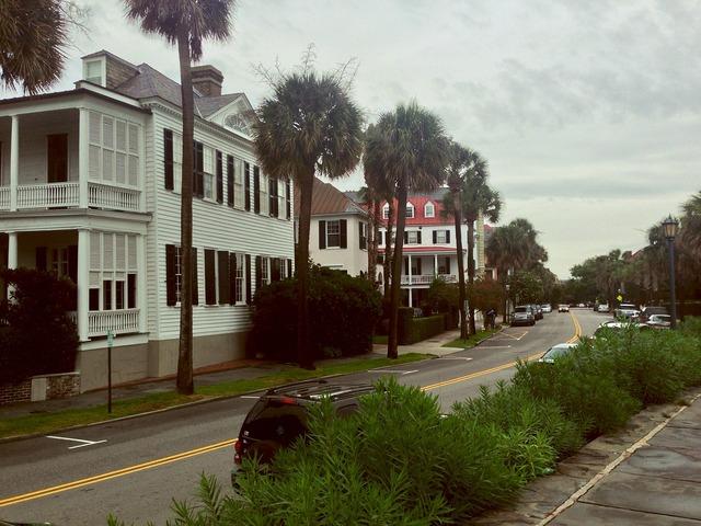 Neighborhood houses row house, transportation traffic.