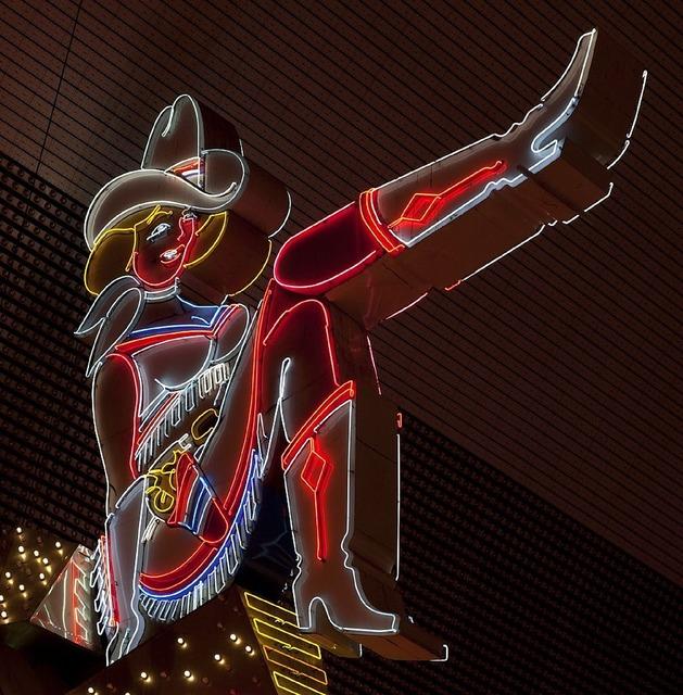 Neon sign las vegas cowgirl.
