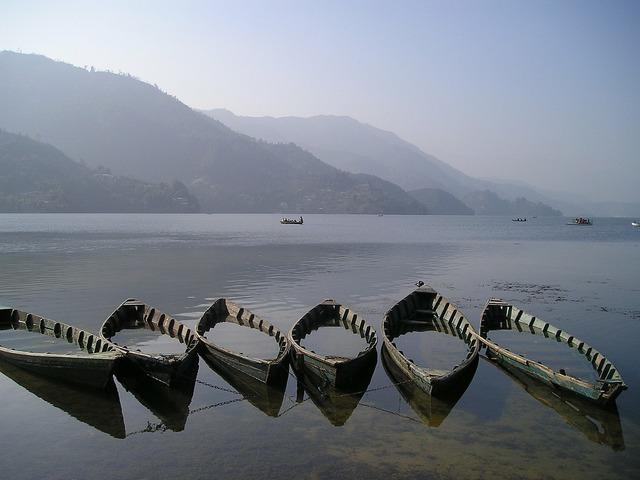Nepal boats lake.