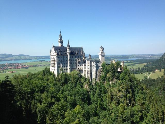 Neuschwanstein castle bavaria, nature landscapes.
