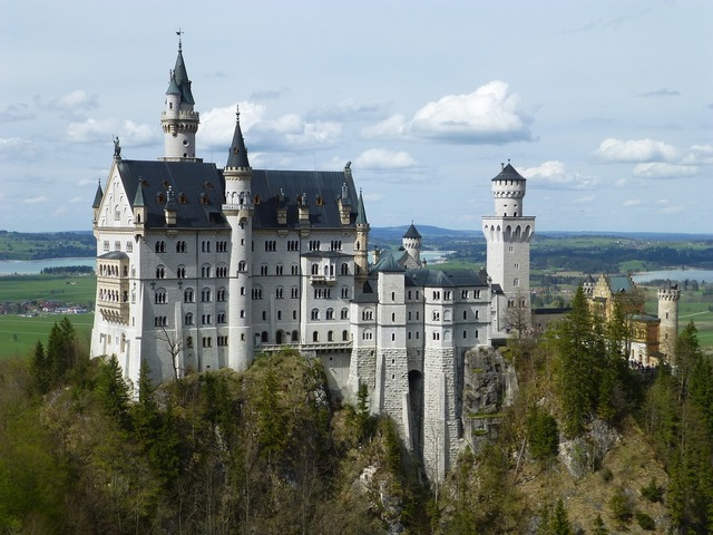 Neuschwanstein castle bavaria, nature landscapes.