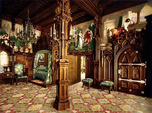 Neuschwanstein castle bedroom, nature landscapes.