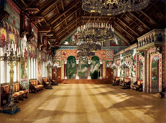 Neuschwanstein castle singer's hall, nature landscapes.