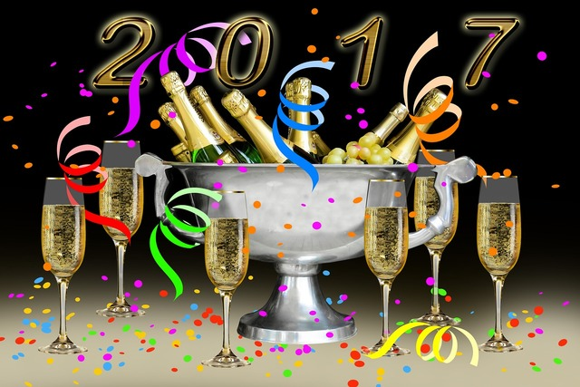 New year 2017 champagne new year's eve, food drink.