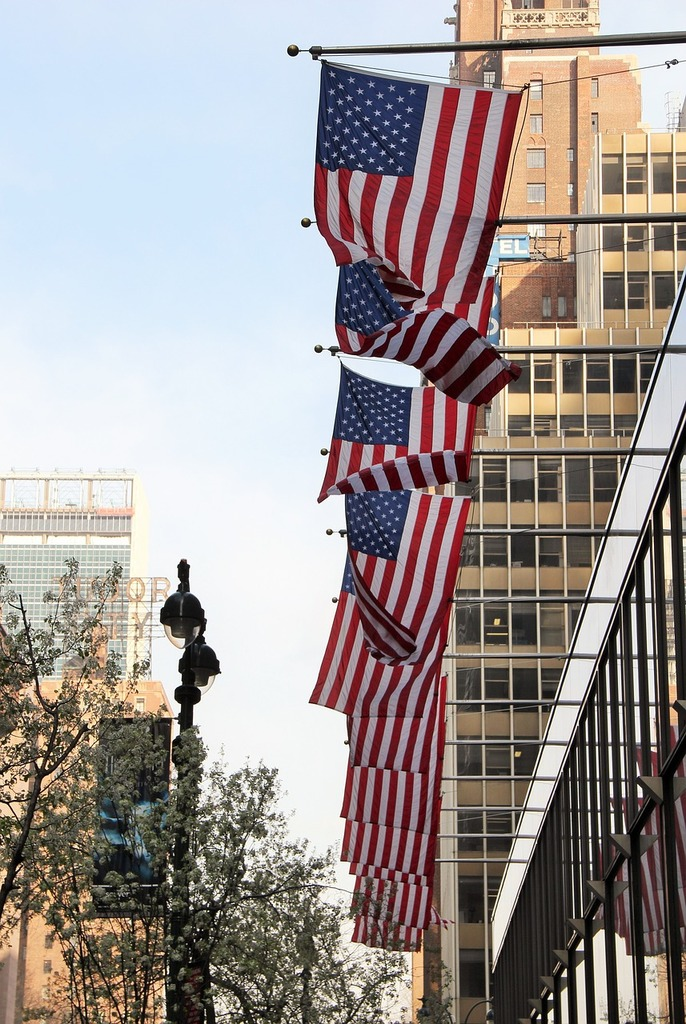New york city usa flags, architecture buildings.