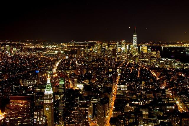 New york manhattan night, architecture buildings.