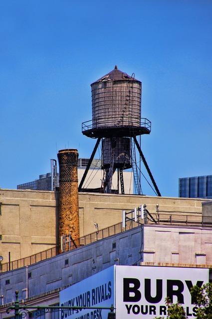 New york manhattan water tank, architecture buildings.