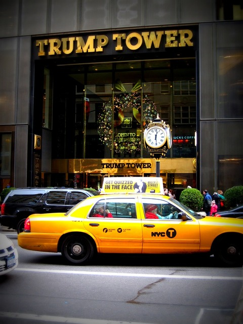New york taxi cab trump tower, architecture buildings.