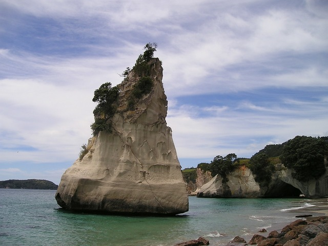 New zealand beach rock, travel vacation.
