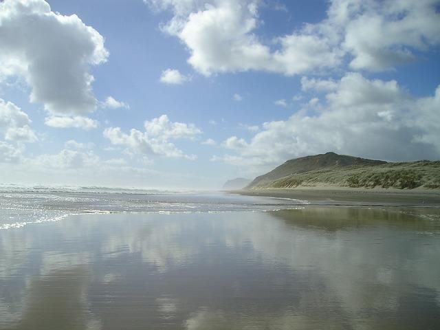 New zealand beach sea, travel vacation.