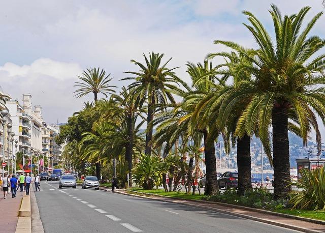 Nice boulevard beach promenade, transportation traffic.