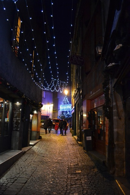 Night christmas medieval street.
