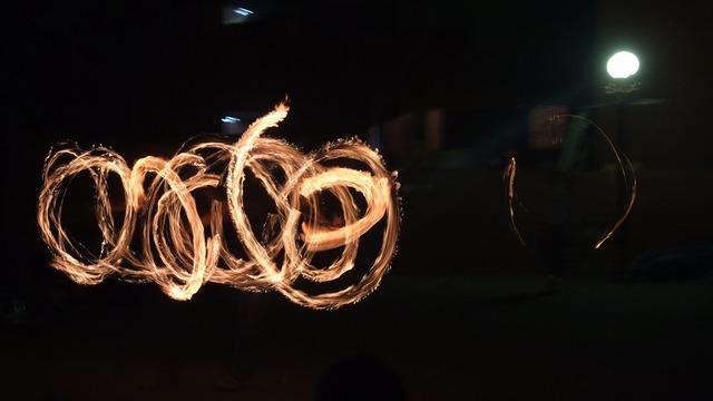 Night night view fire.