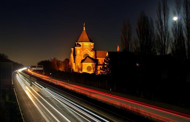 Night photograph highway traffic, transportation traffic.