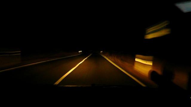Night ride road dark, transportation traffic.
