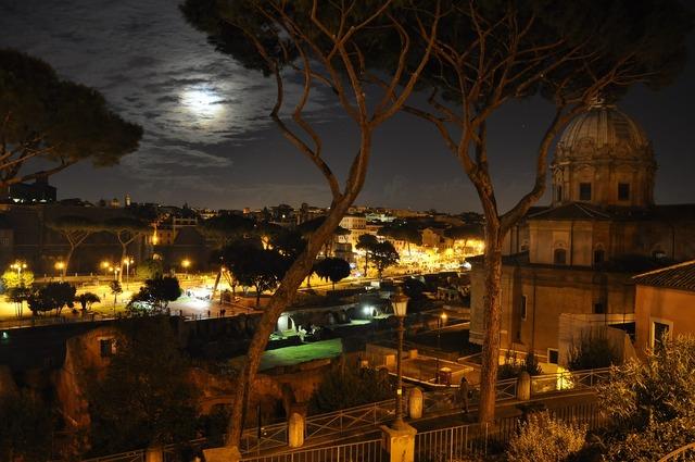 Night rome moon, religion.