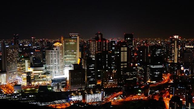 Night view osaka japan, architecture buildings.