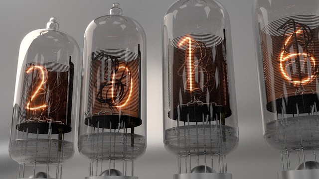 Nixie tubes neon vintage, science technology.