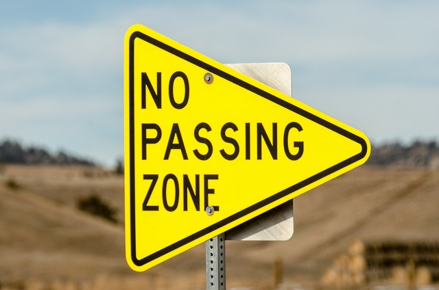 No passing zone sign triangle, transportation traffic.