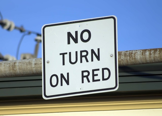 No turn on red sign road, transportation traffic.
